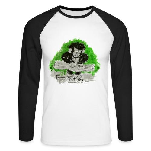 Chimpanzee nut cracking Men's Raglan Long Sleeve - Men's Long Sleeve Baseball T-Shirt