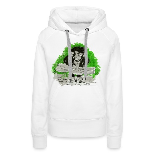 Chimpanzee nut cracking Women's Hooded Sweatshirt - Women's Premium Hoodie