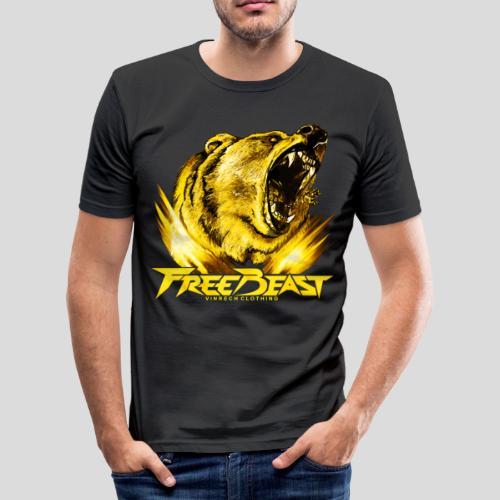 VINRECH CLOTHING - FREE BEAST - GRIZZLY GOLD - T-shirt noir sport homme - T-shirt près du corps Homme