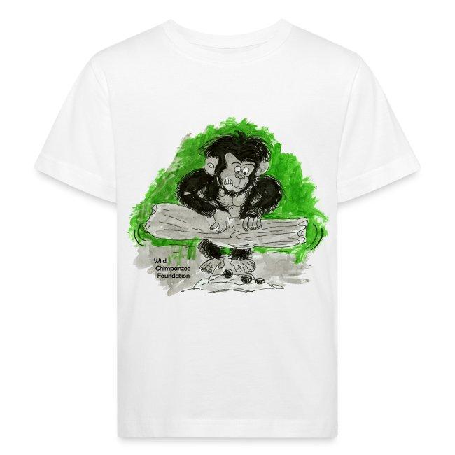 Chimpanzee nut cracking Children's Bio T-Shirt