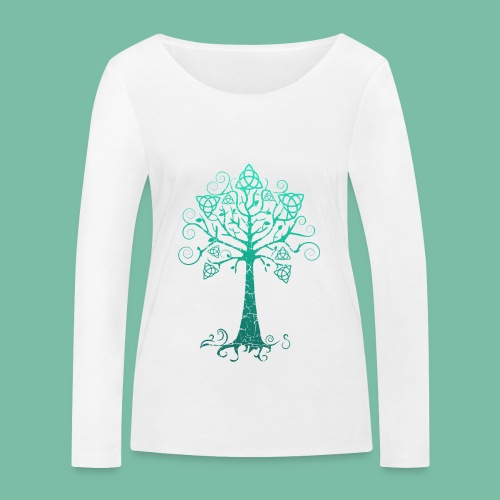 t-shirt manches longues bio femme arbre phare bleu - T-shirt manches longues bio Stanley & Stella Femme