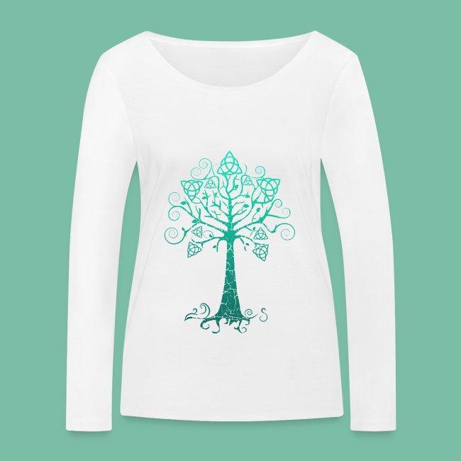 t-shirt manches longues bio femme arbre phare bleu