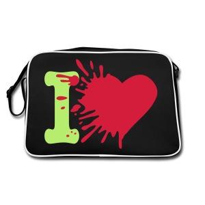 Heart Bag: Zwart/Groen - Retro-tas
