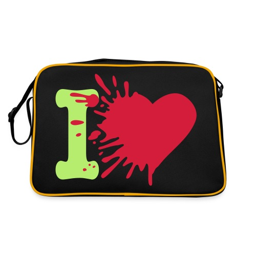 Heart Bag: Zwart/Groen - Retro-tas