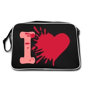 Heart Bag: Zwart/Roze - Retro-tas