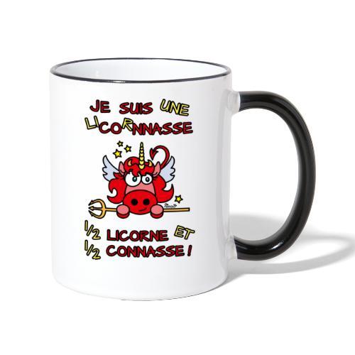 Tasse Bicolore LicornNASSE Moitié Licorne moitié C... - Mug contrasté