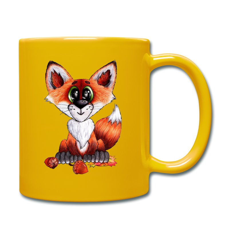 llwynogyn - a little red fox - Tasse einfarbig