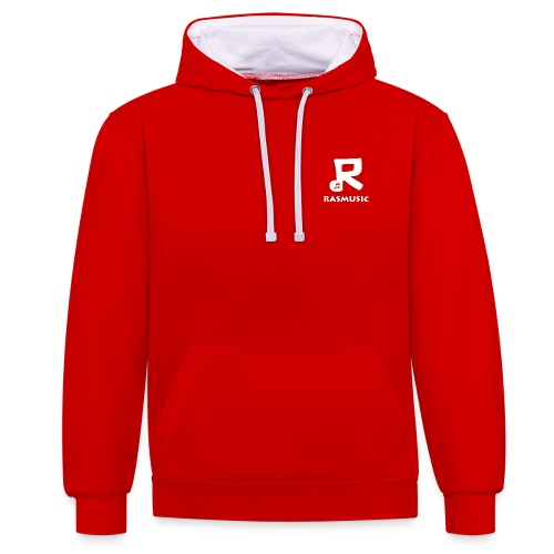 Rasmusic Hoodie (Small Logo) (Red & White) - Contrast Colour Hoodie