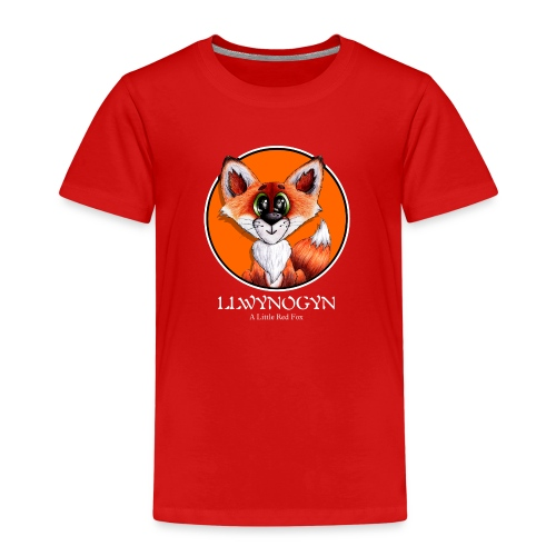 llwynogyn - a little red fox (white) - Premium-T-shirt barn