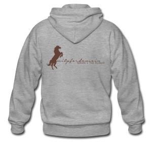 RU Font , Men Zipper ( Print Digital Brown) - Männer Premium Kapuzenjacke