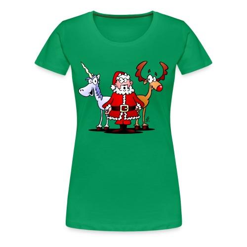 Santa, reindeer, unicorn - Women's Premium T-Shirt