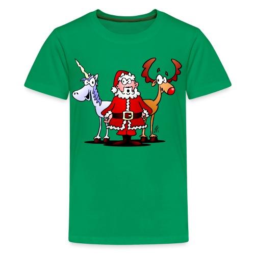 Santa, reindeer, unicorn - Teenage Premium T-Shirt
