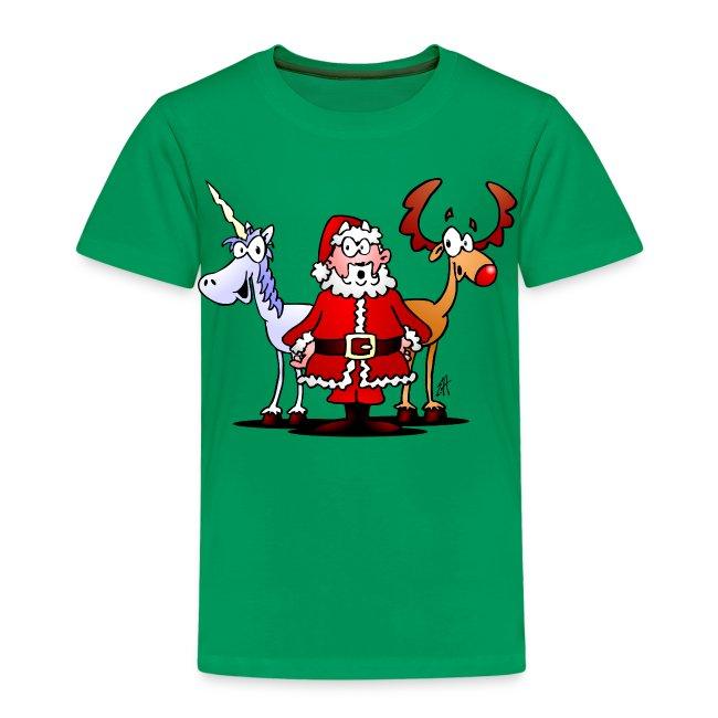 Santa, reindeer, unicorn