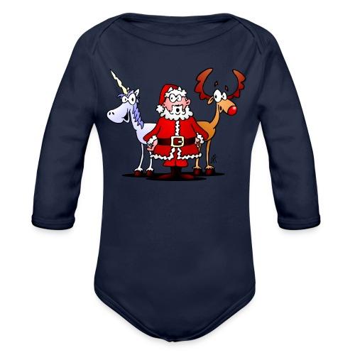 Santa, reindeer, unicorn - Organic Longsleeve Baby Bodysuit