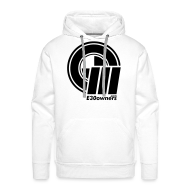 Hoodies & Sweatshirts ~ Men's Premium Hoodie ~ Logo & Domain on Front & Domain on Back White