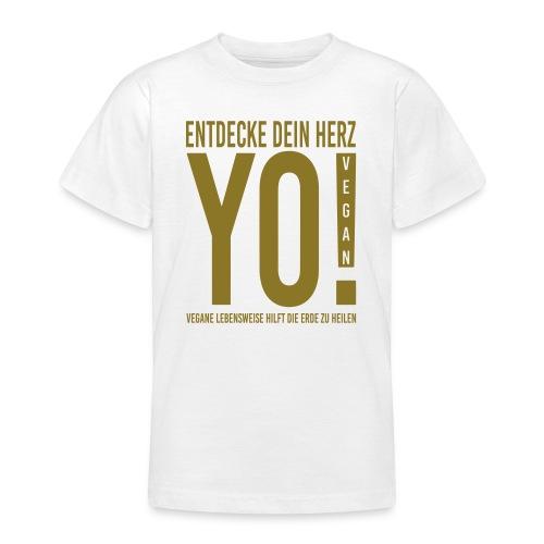 17.YO! VEGAN-German-Gold-Metallic-TeenagerShirt-*Die Designwirkung ist besser erstichtlich über Produktansicht und Klick auf Willst Du Dein Design anpassen!  - Teenager T-Shirt