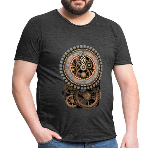 Steampunk Vintage Clock and Gears Men's Vintage T-Shirts - Men's Vintage T-Shirt
