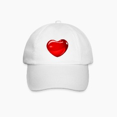 White/white heart in 3d Caps & Hats