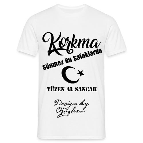 Korkma Beyaz Siyah T-Shirt - Männer T-Shirt