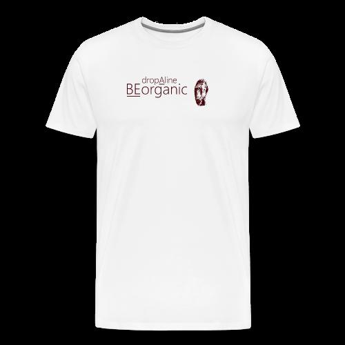 Männer Premium T-Shirt - Männer Kurzarm Shirt vorn und hinten bedruckt. Aufdruck in der Farbe Schwarz.