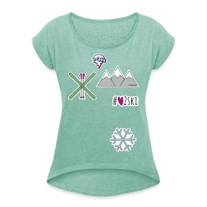 #love2ski T-Shirt - Frauen T-Shirt mit gerollten Ärmeln