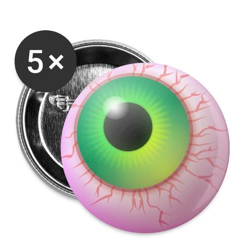 Das Auge,Augapfel,Grusel-Auge - Buttons mittel 32 mm (5er Pack)