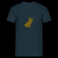 T-Shirts ~ Männer T-Shirt ~ Walter Frosch (Gold auf Dunkelblau)