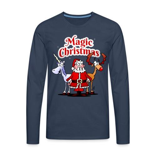 Magic Christmas with a unicorn - Men's Premium Longsleeve Shirt