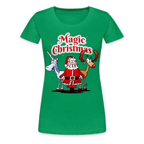 Magic Christmas with a unicorn - Women's Premium T-Shirt