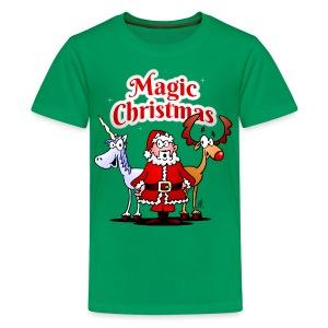 Magic Christmas with a unicorn - Teenage Premium T-Shirt