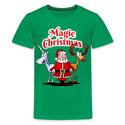 Magic Christmas with a unicorn - Teenage Premium T-Shirt