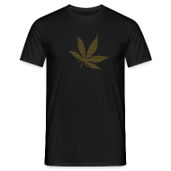 T-Shirts ~ Men's T-Shirt ~ Goldenes Hanfblatt-Raster Shirt
