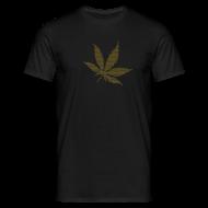 T-Shirts ~ Männer T-Shirt ~ Goldenes Hanfblatt-Raster Shirt
