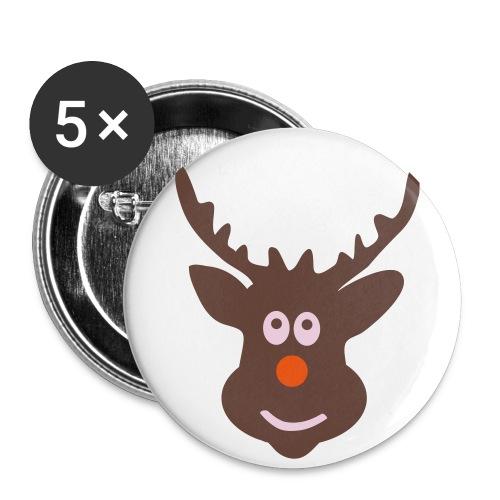 Merry Rudolph - Paquete de 5 chapas pequeñas (25 mm)