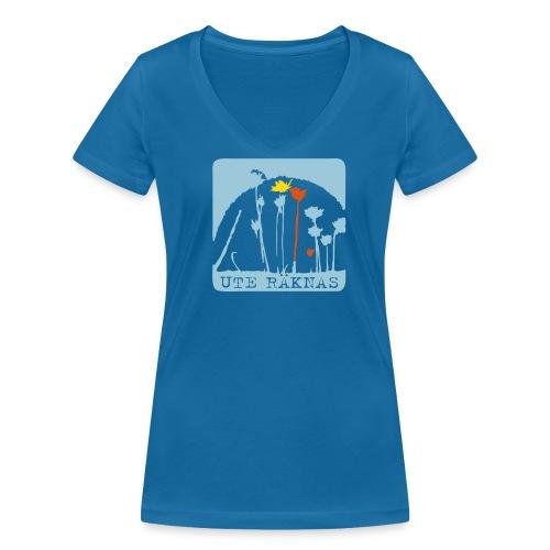 Ute Räknas - V-ringad eko, blå - Ekologisk T-shirt med V-ringning dam från Stanley & Stella