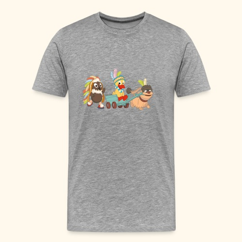 Männer Premium T-Shirt Indianerfreunde Pittiplatsch, Schnatterinchen & Moppi - Männer Premium T-Shirt