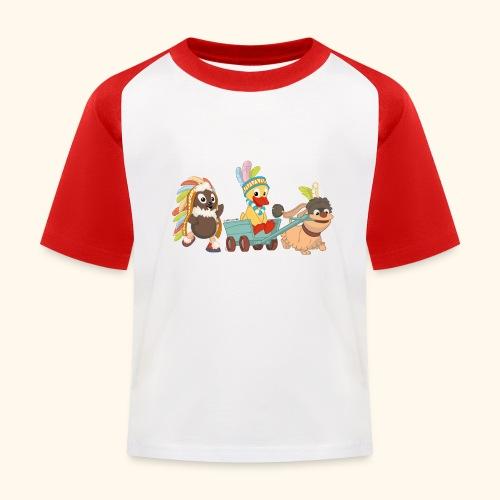 Kinder Baseball T-Shirt Indianerfreunde Pittiplatsch, Schnatterinchen & Moppi - Kinder Baseball T-Shirt