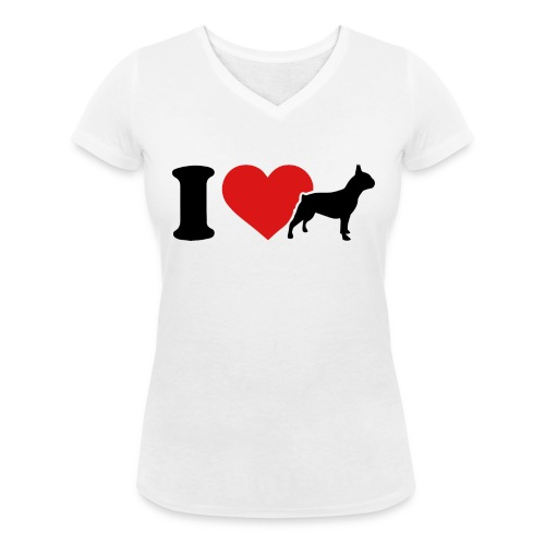 I love bulldog - T-shirt bio col V Stanley & Stella Femme