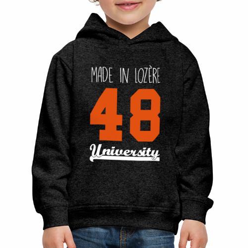 Sweat shirt Enfant Made in Lozère - Orange & White - Pull à capuche Premium Enfant