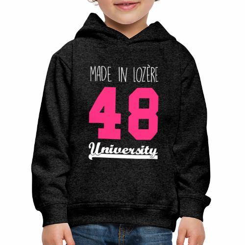 Sweat shirt Enfant Made in Lozère - Pink & White - Pull à capuche Premium Enfant
