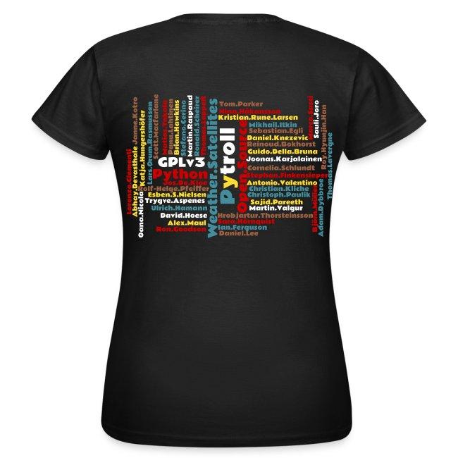 Pytroll woman shirt with contributor names