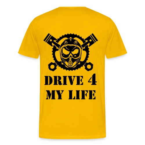 YELLOW T-SHIRT WITH DRIVE 4 MY LIFE LOGO BLACK - Männer Premium T-Shirt