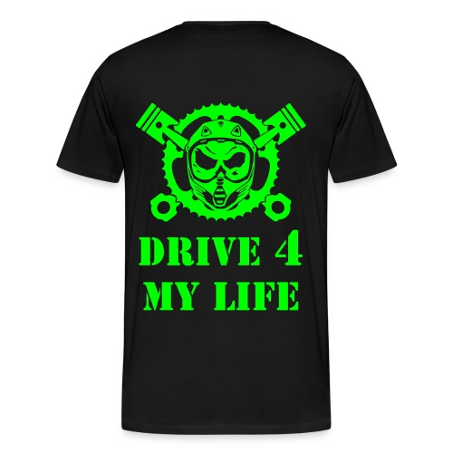 BLACK T-SHIRT WITH DRIVE 4 MY LIFE LOGO GREEN - Männer Premium T-Shirt