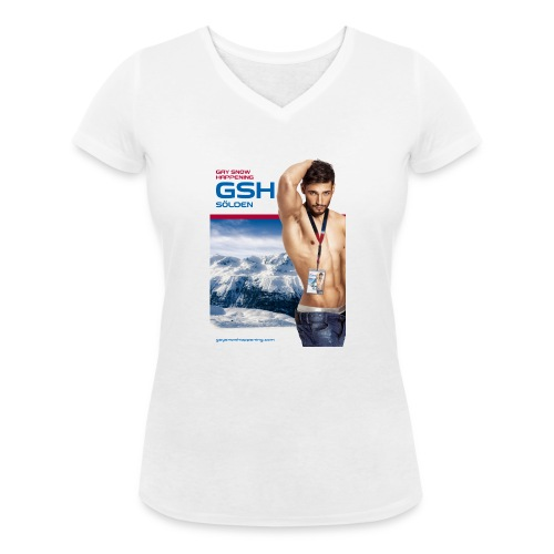 Frauen Bio-T-Shirt mit V-Ausschnitt Skifahrer vorne - Frauen Bio-T-Shirt mit V-Ausschnitt von Stanley & Stella