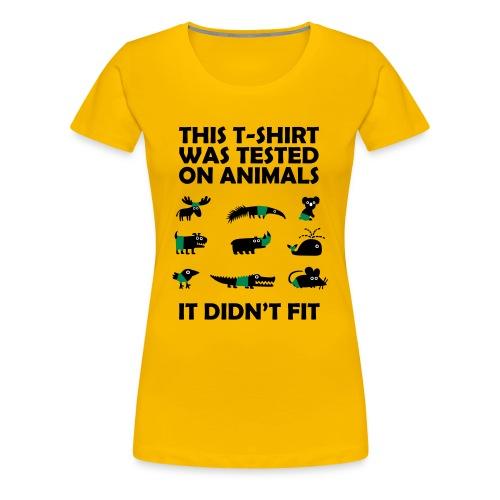 Tested on Animals Women T-Shirt yellow - Women's Premium T-Shirt