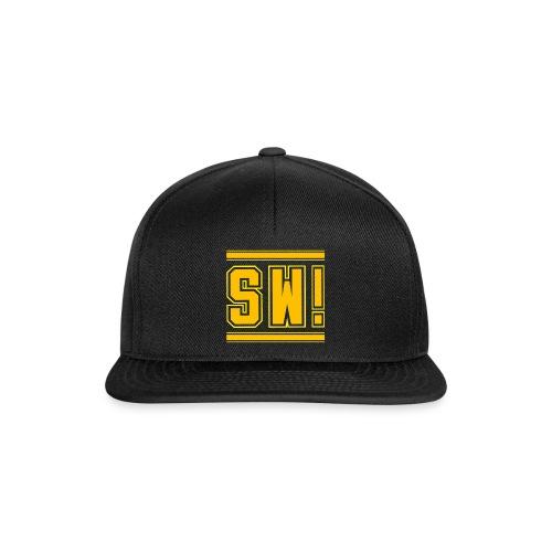 SUPER WANG! Cap schwarz, Logo SW! gelb-orange - Snapback Cap