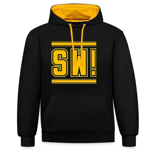 SUPER WANG!, Kontrast Hoodie, schwarz-gelb, mit Logo SW!, gelb-orange, unisex - Kontrast-Hoodie