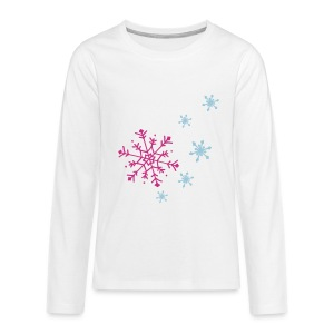 Front: Snowflakes, Longleeve Back- Heart ( Print Pink and Light Blue) - Teenager Premium Langarmshirt