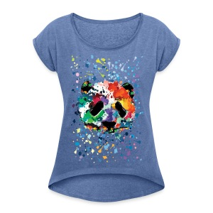 Splash panda Women's T-shirt with rolled up sleeves - Women's T-shirt with rolled up sleeves