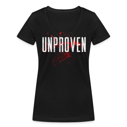 Unproven - Uptempo Hardore - Woman Shirt - Front & Back - Vrouwen bio T-shirt met V-hals van Stanley & Stella
